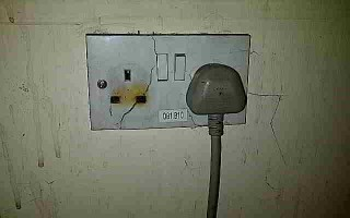 Damaged plug socket